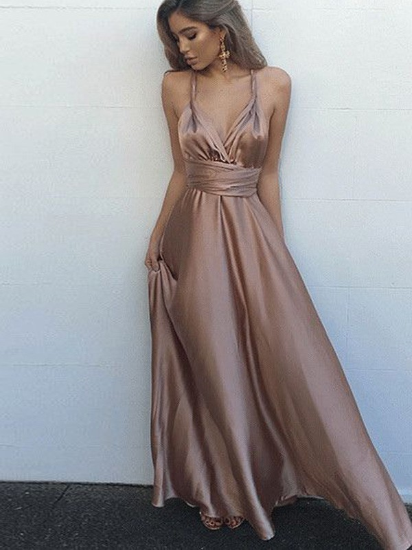 Satin A-Line Floor-Length Spaghetti Straps Brown Prom Dresses