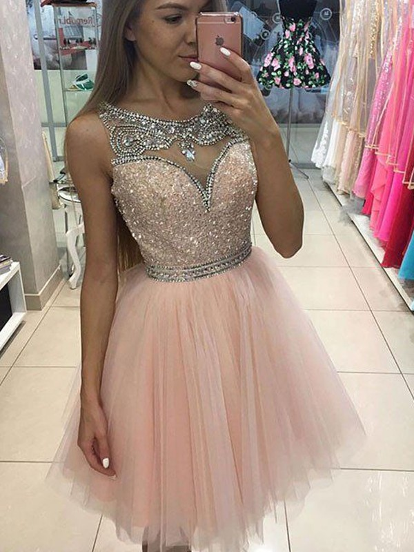 Pink Scoop Tulle Short/Mini Homecoming Dresses