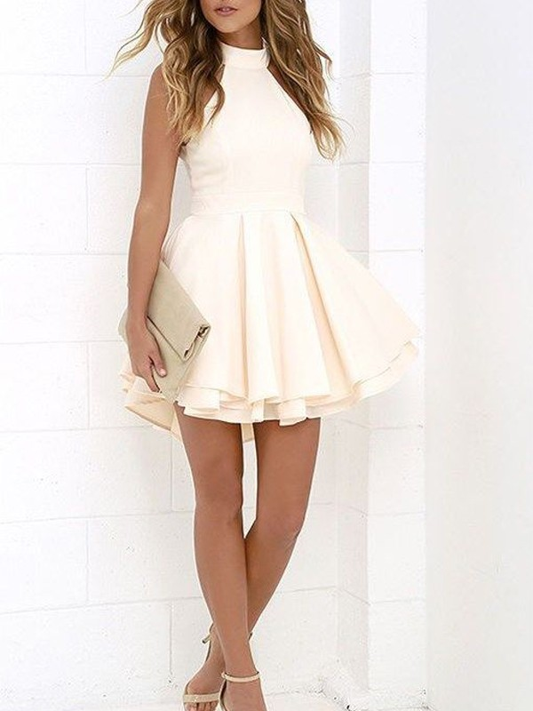 Satin A-Line Short/Mini Halter Ivory Homecoming Dresses