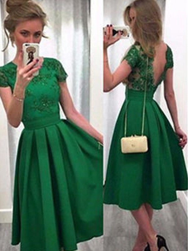 A-Line Short Sleeves Scoop Short Dark Green Homecoming Dresses