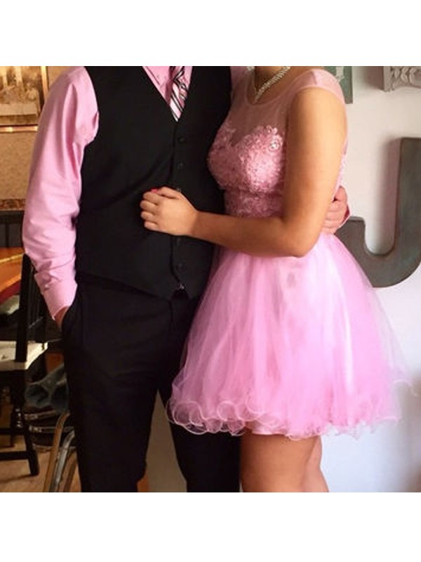 Scoop Short/Mini Pink Homecoming Dresses with Applique