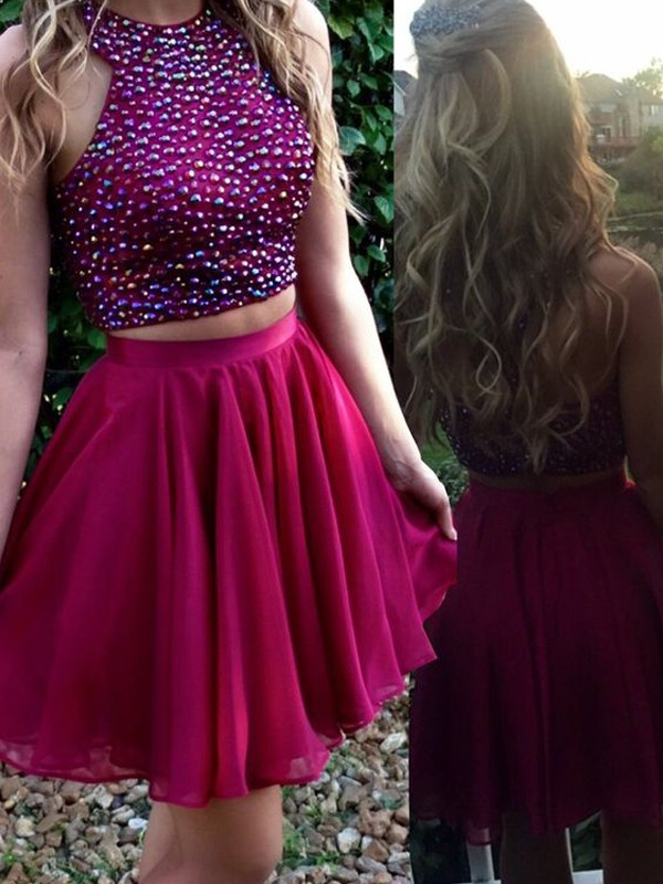 A-Line Scoop Short/Mini Fuchsia Homecoming Dresses with Beading