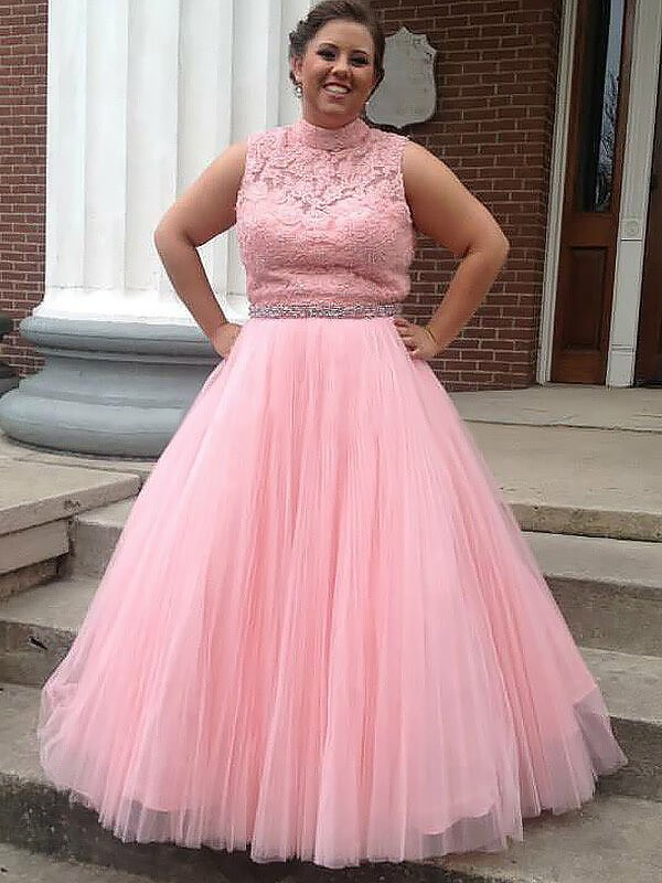 Ball Gown High Neck Floor-Length Pink Prom Dresses