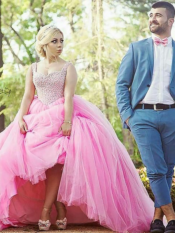 Ball Gown Sweetheart Brush Train Pink Prom Dresses