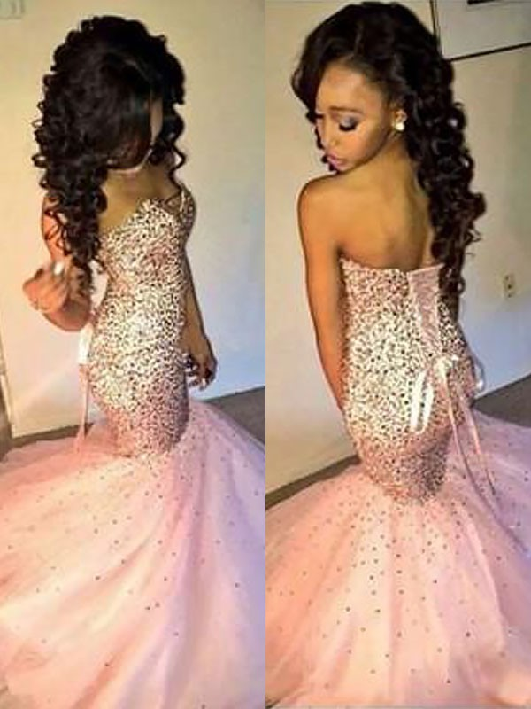 Mermaid Sweetheart Brush Train Pink Prom Dresses with Sequin