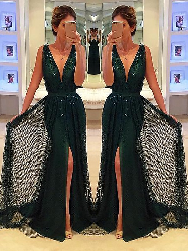 A-Line V-neck Brush Train Dark Green Prom Dresses with Sash/Ribbon/Belt