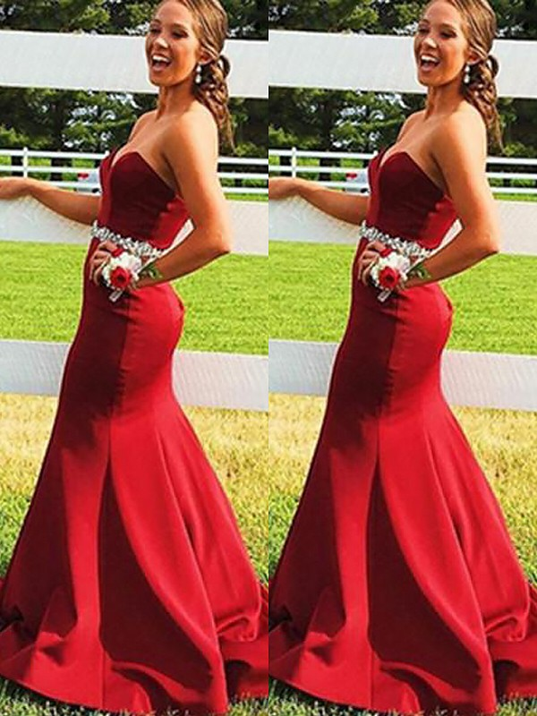 Satin Sweetheart Brush Train Red Prom Dresses