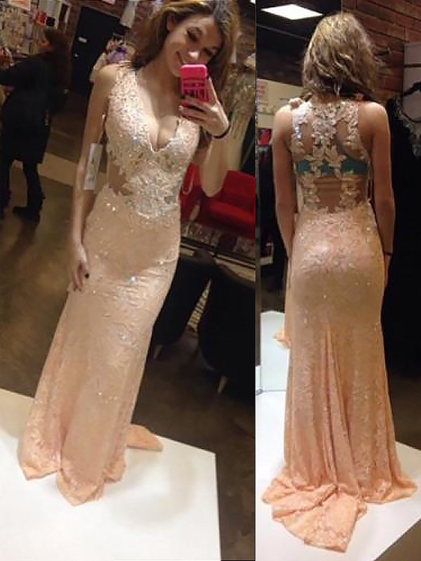Sheath V-neck Brush Train Pink Prom Dresses
