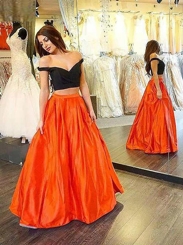 A-Line Taffeta Off-the-Shoulder Floor-Length Prom Dresses with Ruffles