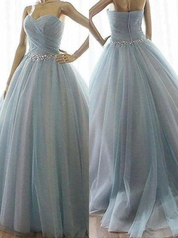 Ball Gown Sweetheart Floor-Length Blue Prom Dresses with Beading