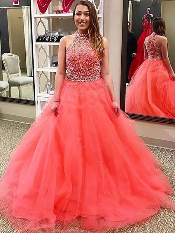 Tulle Ball Gown Floor-Length Halter Watermelon Prom Dresses