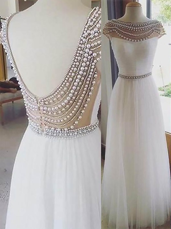 White A-Line Bateau Floor-Length Prom Dresses with Beading