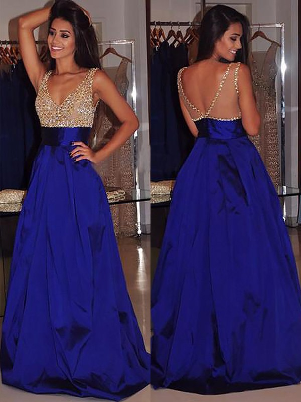 A-Line V-neck Brush Train Royal Blue Prom Dresses with Beading