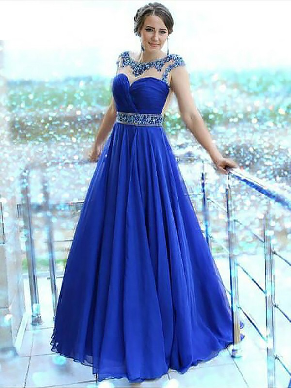 Regency Bateau Chiffon Floor-Length Prom Dresses