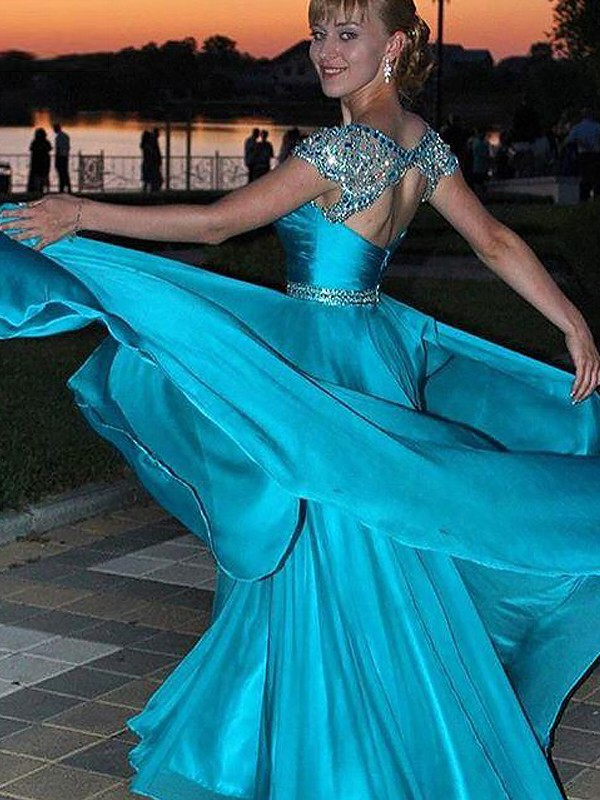 A-Line Jewel Floor-Length Blue Prom Dresses