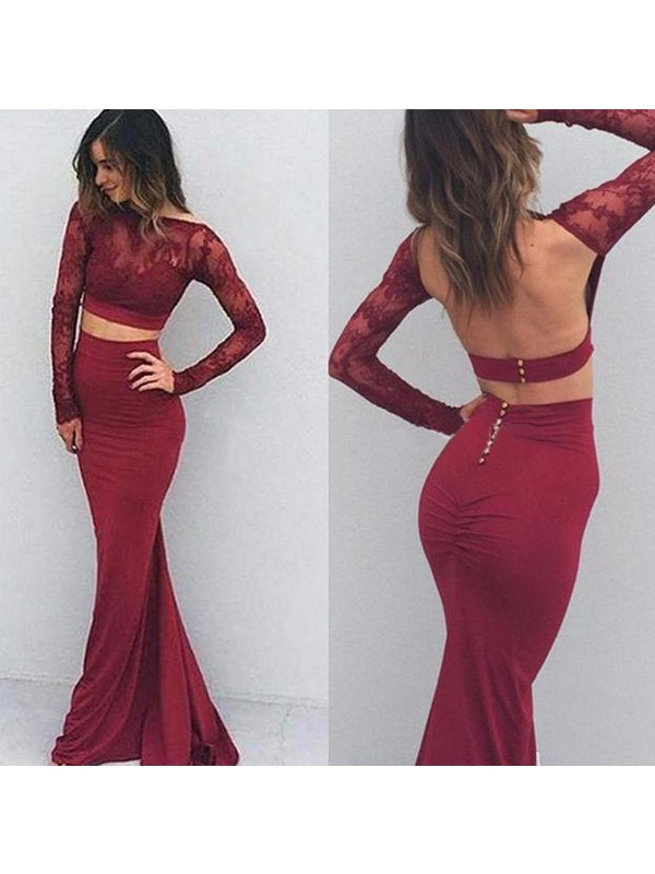 Mermaid Bateau Floor-Length Burgundy Prom Dresses with Applique