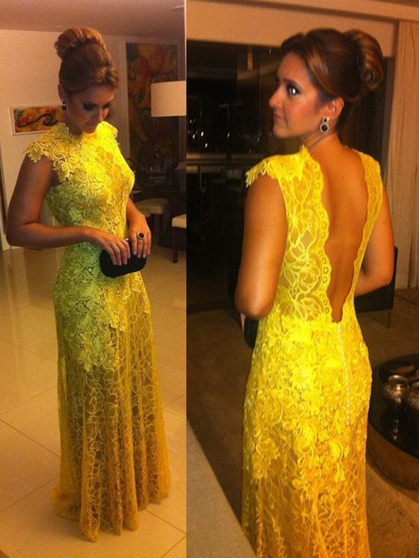 A-Line High Neck Floor-Length Yellow Prom Dresses