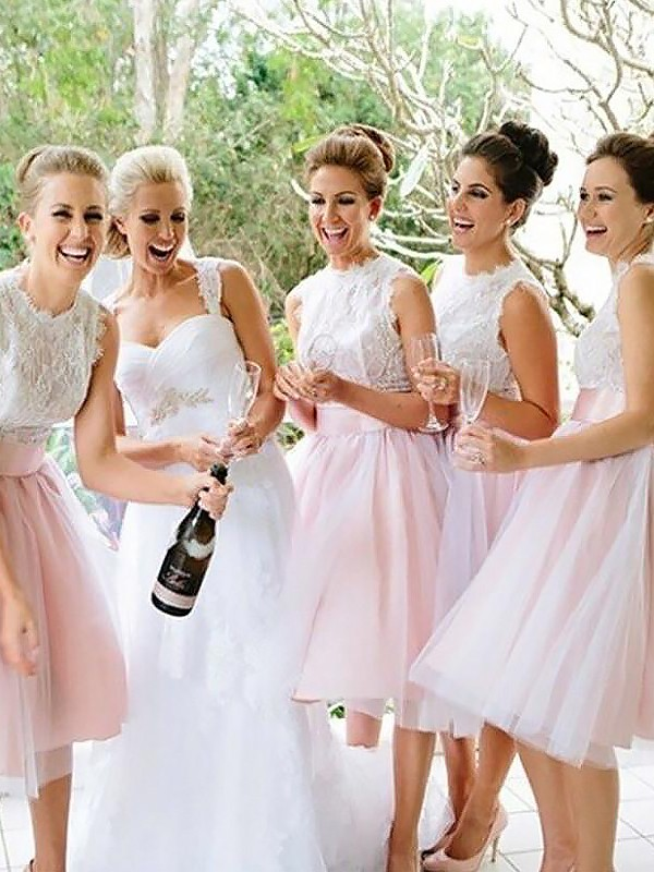 A-Line Scoop Knee-Length Pink Bridesmaid Dresses