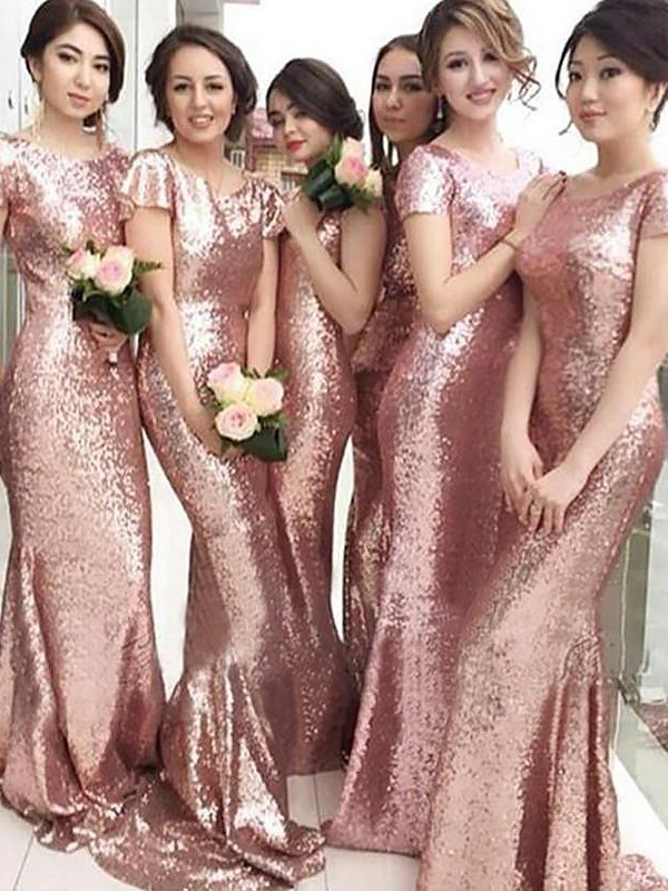 Sheath Scoop Brush Train Pink Bridesmaid Dresses