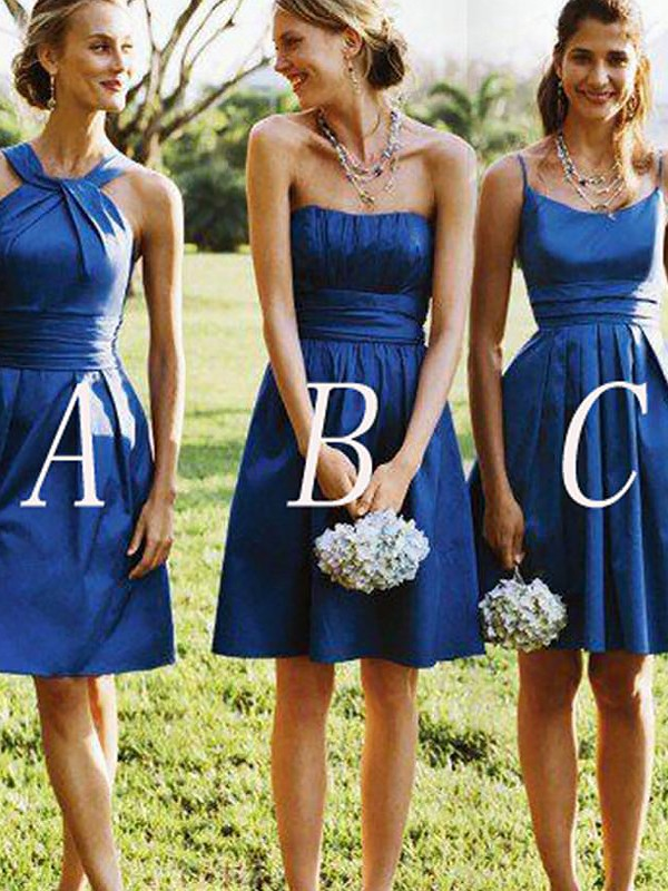 A-Line Satin Short/Mini Bridesmaid Dresses