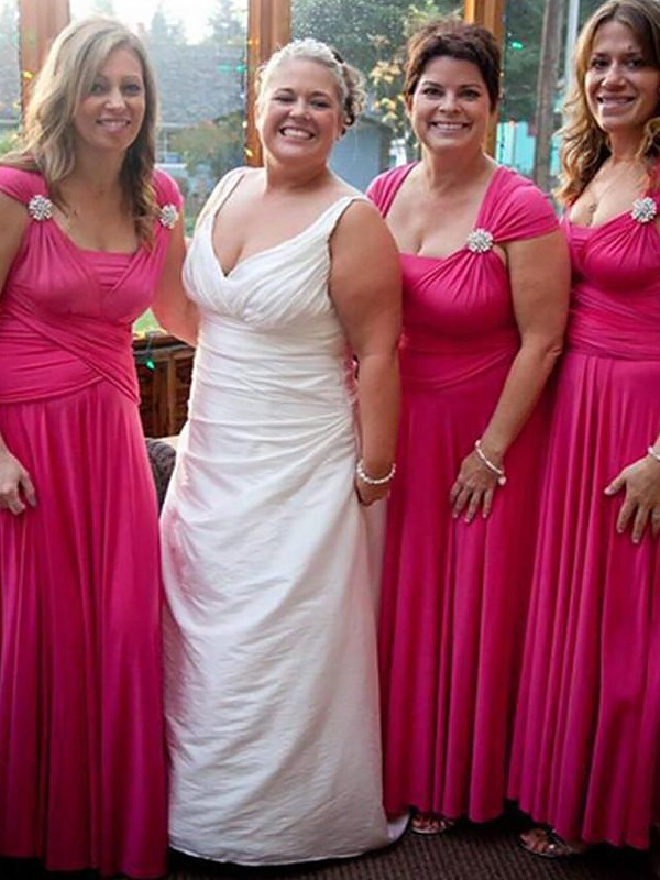 Fuchsia A-Line Straps Floor-Length Bridesmaid Dresses