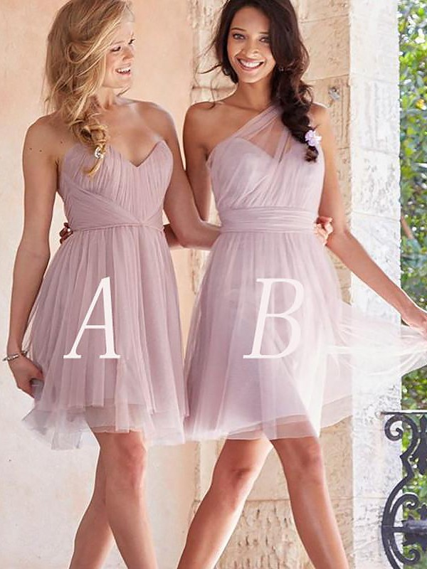 A-Line Short/Mini Pink Bridesmaid Dresses