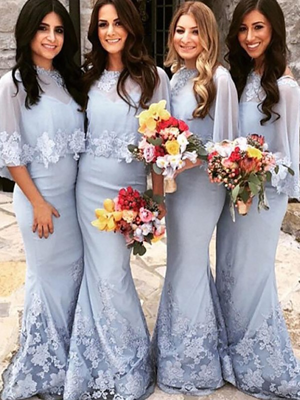 Mermaid Satin Scoop Floor-Length Bridesmaid Dresses