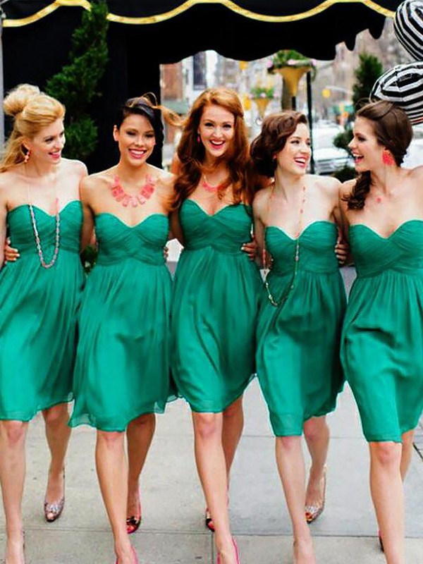 A-Line Sweetheart Short/Mini Green Bridesmaid Dresses
