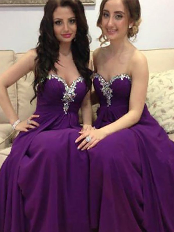A-Line Sweetheart Floor-Length Grape Bridesmaid Dresses with Beading