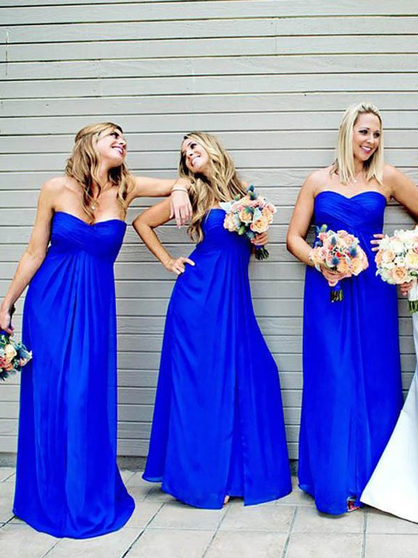 A-Line Chiffon Sweetheart Floor-Length Bridesmaid Dresses