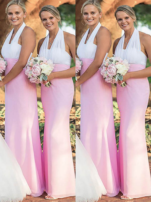 Floor-Length Pink Halter Bridesmaid Dresses
