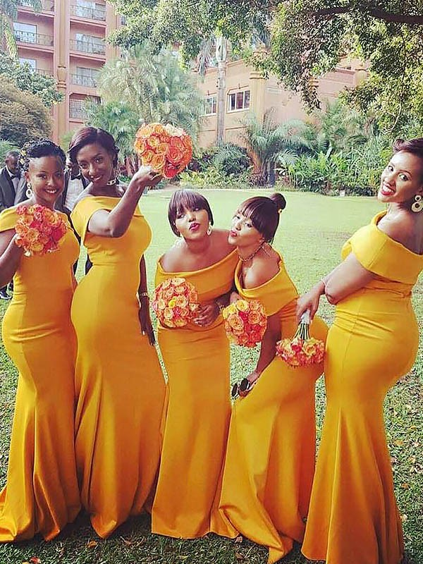 Mermaid Off-the-Shoulder Floor-Length Yellow Bridesmaid Dresses