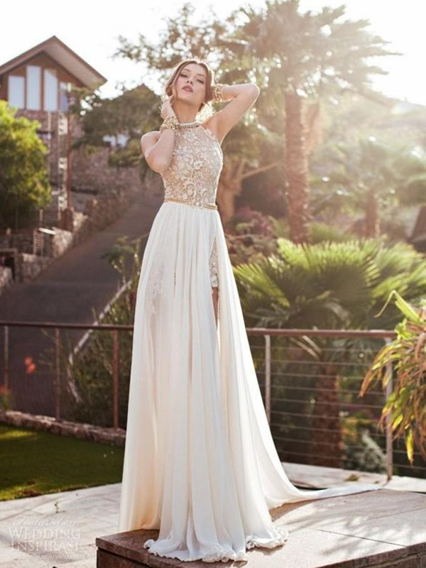 A-Line Halter Brush Train Ivory Prom Dresses