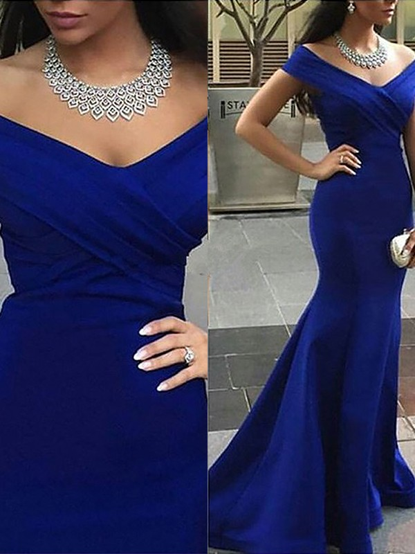Mermaid Satin Off-the-Shoulder Brush Train Royal Blue Prom Dresses