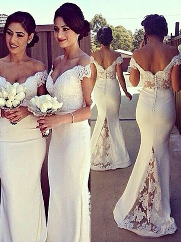 Mermaid Off-the-Shoulder Brush Train Ivory Bridesmaid Dresses with Lace