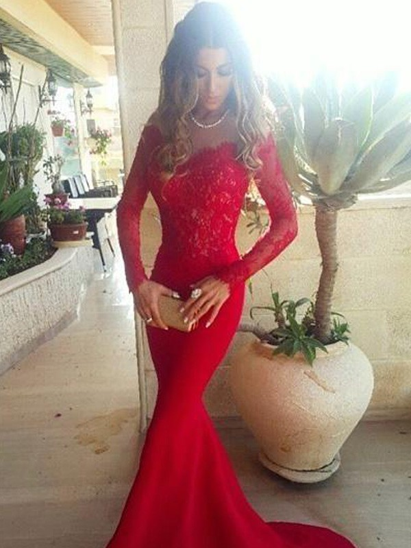 Mermaid Satin Long Sleeves Off-the-Shoulder Brush Train Prom Dresses with Lace