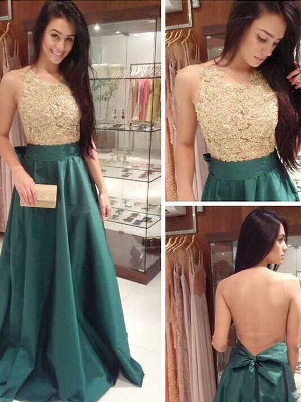 Green A-Line Scoop Floor-Length Prom Dresses with Bowknot