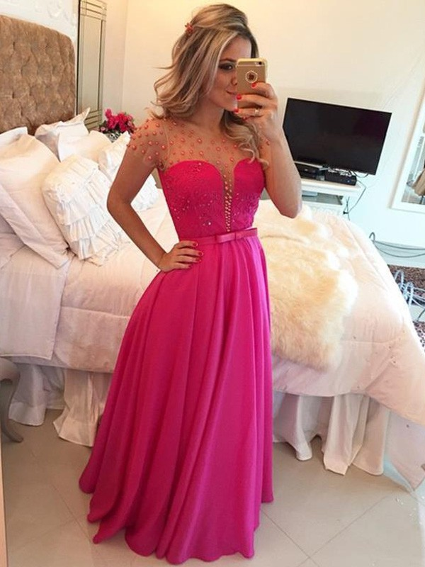 Red Scoop Chiffon Floor-Length Prom Dresses