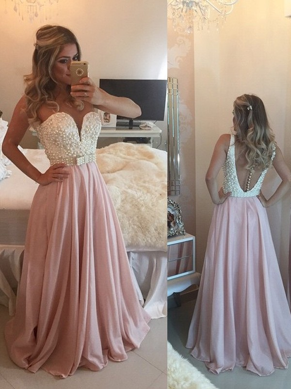 A-Line Sweetheart Floor-Length Pearl Pink Prom Dresses with Pearls