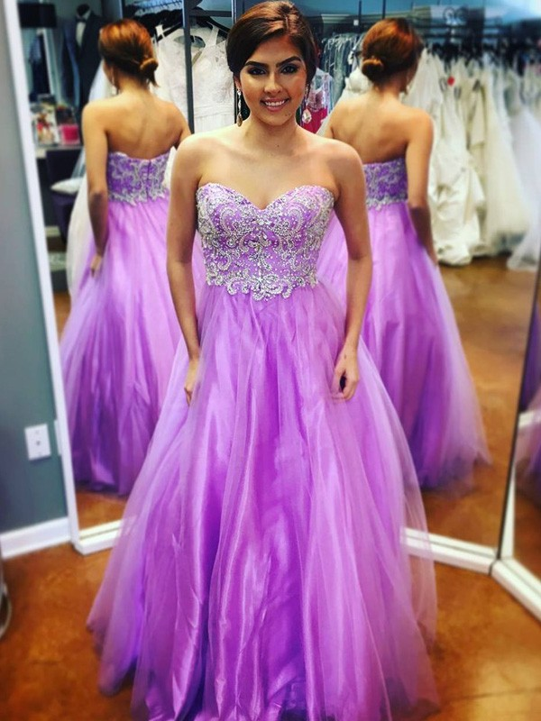 A-Line Sweetheart Floor-Length Lilac Prom Dresses
