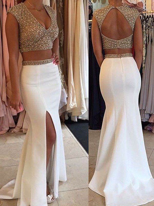 White V-neck Satin Brush Train Prom Dresses
