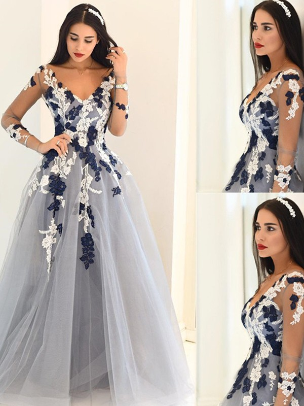 A-Line Tulle Long Sleeves V-neck Floor-Length Prom Dresses with Applique