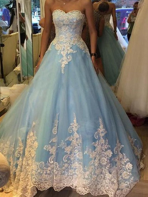 Ball Gown Sweetheart Sweep/Brush Train Blue Prom Dresses with Applique