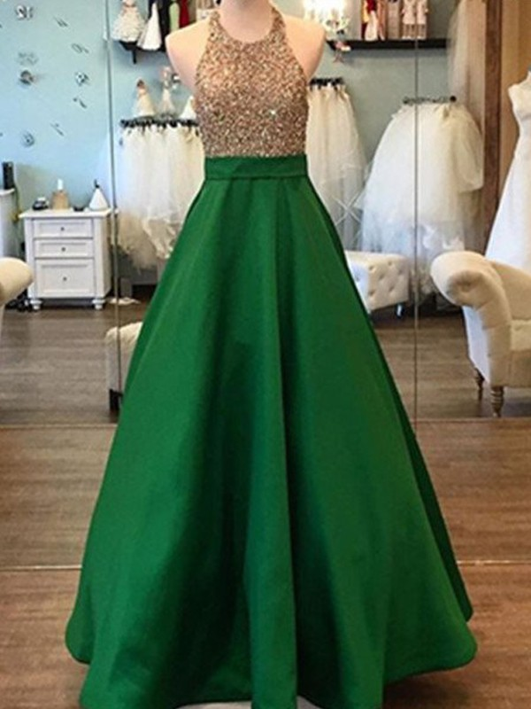 Satin Halter Floor-Length Green Prom Dresses
