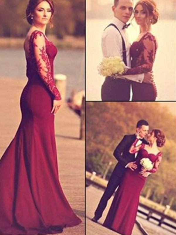 Satin Mermaid Brush Train Long Sleeves Sweetheart Burgundy Prom Dresses