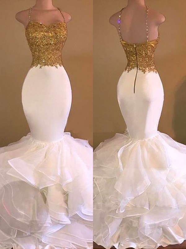 Mermaid Spaghetti Straps Floor-Length White Prom Dresses