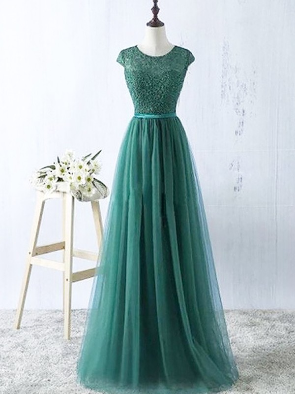 Tulle A-Line Floor-Length Scoop Green Prom Dresses