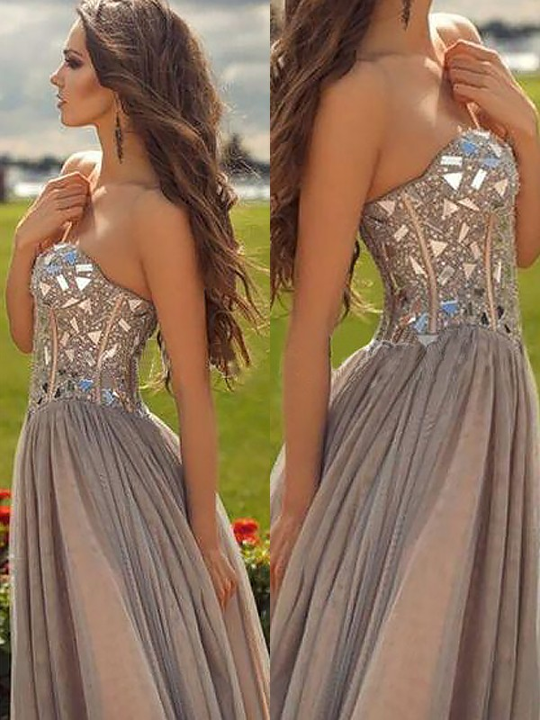 Champagne Sweetheart Chiffon Floor-Length Prom Dresses