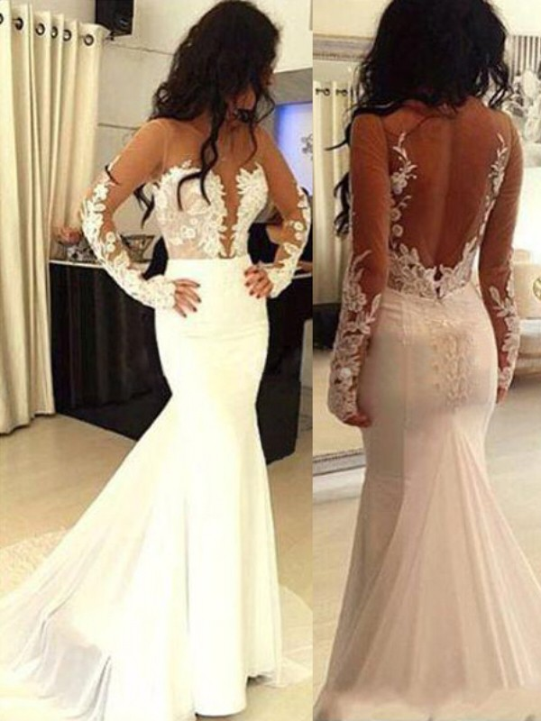 Long Sleeves Scoop Brush Train White Prom Dresses with Applique