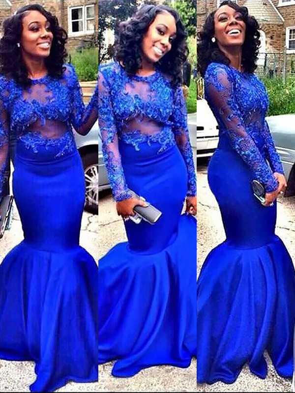 Mermaid Scoop Floor-Length Royal Blue Prom Dresses with Applique